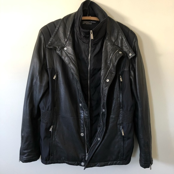Porsche Design Leather Jacket Black Lambskin Men's